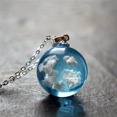 Blues, sky blue, Chain Necklace, white