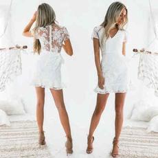short sleeves, Mini, Lace Dress, Lace