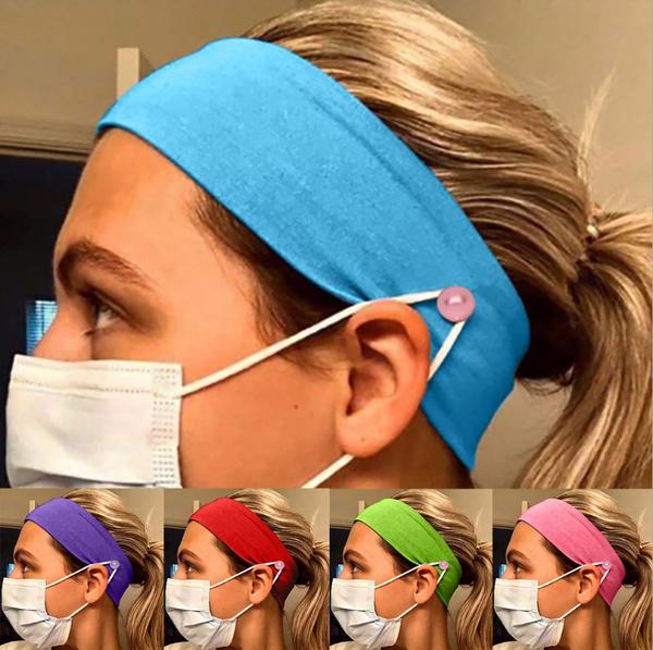 Elastic Button Headband for Women Sports Workout Turban Head Wrap Hair Band Yoga