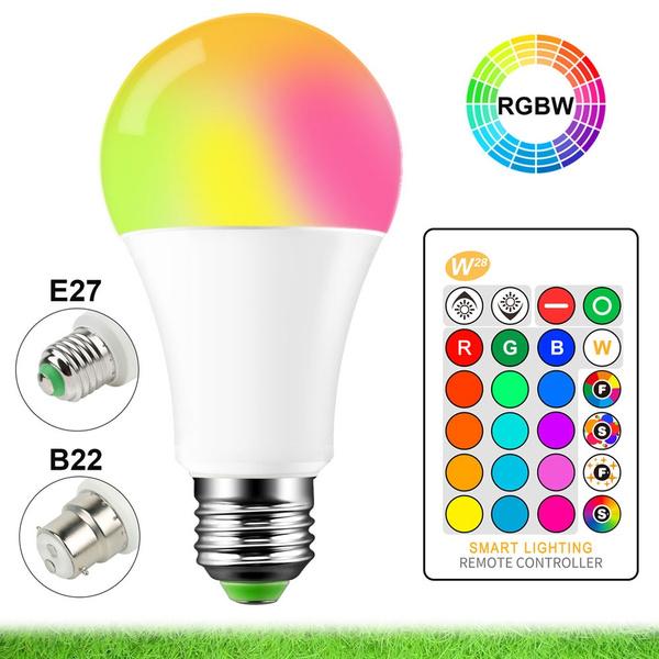 B22 E27 RGB LED Light Bulb 15W 16Colour Changing IR Remote Controlled Magic Lamp