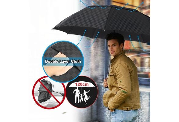 Color : A Xudongliu Double-Layer Big Umbrella rain Ladies Men 3 Folding 10K Windproof Business Umbrella Men Dark Grid Parasol Family Travel