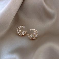 Summer, Fashion, Star, Pearl Earrings