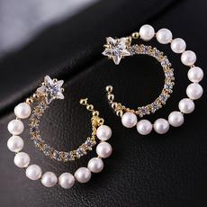 Fashion, Star, Pearl Earrings, Stud Earring