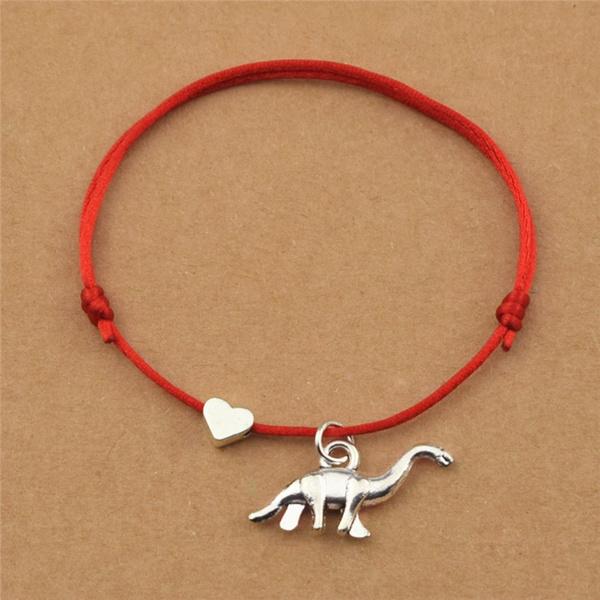 Heart, pendantbracelet, brontosaurusjewelry, adjustablebracelet