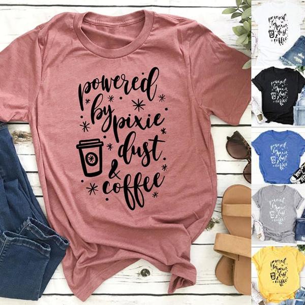 Coffee, Shorts, Shirt, letter print