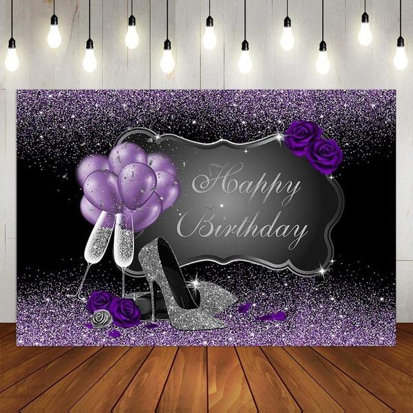 happybirthday, blackandpurplebackdrop, Womens Shoes, purple