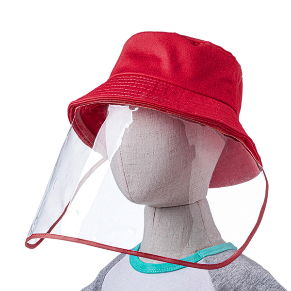 Cosweet Non-Detachable Fisherman Protective Hat with Face Mask-Kids Isolate Sunscreen Anti-Fog Saliva Clear Visor Face Hat
