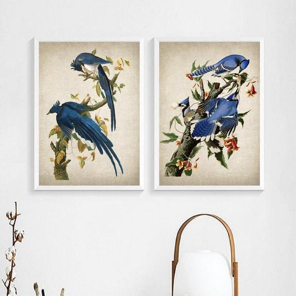 birdposter, Blues, art, Home Decor