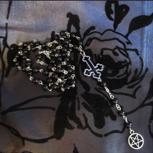 rosary, satanic, Cross, inverted