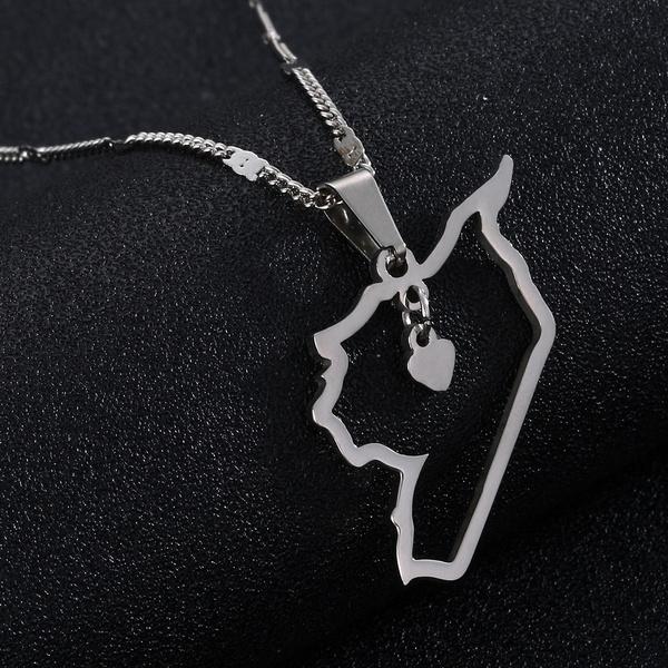 trendy necklace, syriacharmjewelry, mappendant, Jewelry