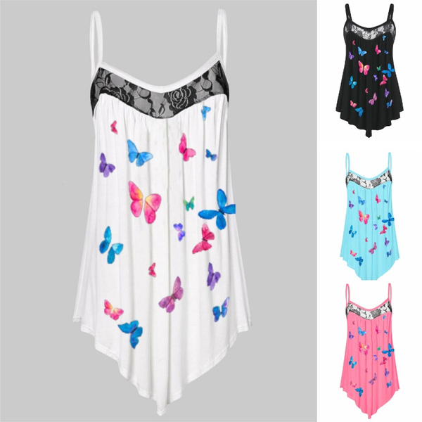 butterflyprint, Summer, Plus Size, tunic