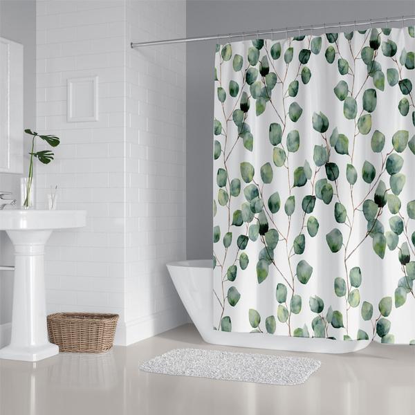 leaves, Bathroom, greenshowercurtain, Home & Kitchen