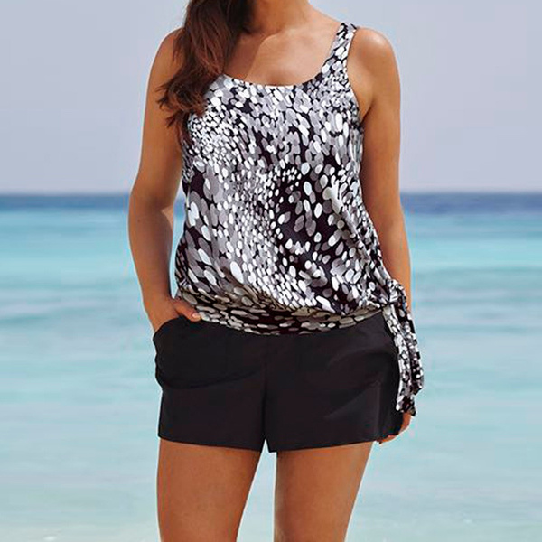 Womens Tankini Sets Boy Shorts Ladies Swimwear Plus Size Two Piece Bathing Suit
