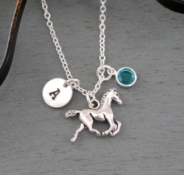birthstonenecklace, horseinitialnecklace, horse, lover gifts