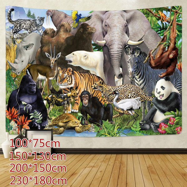 Decor, art, mandalatapestry, animalparty