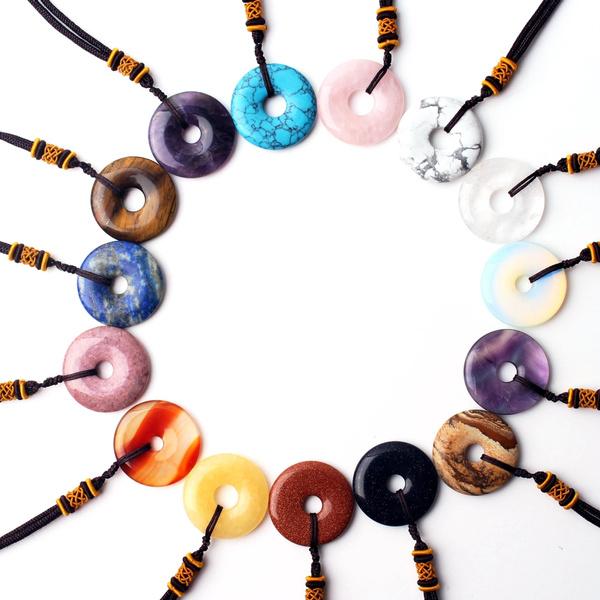 circularpendant, Blues, crystal pendant, quartz