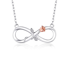 Sterling, Diamond Necklace, Infinity, 925necklace