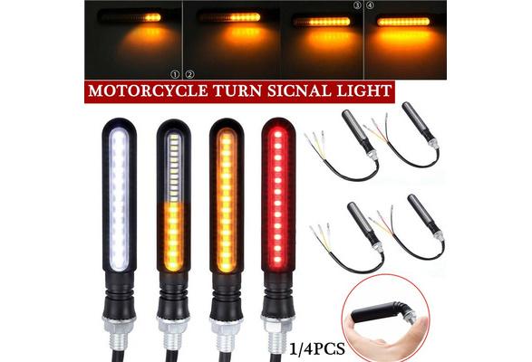 Yizhet 4pcs Flowing Motorcycle Indicators Motorcycle 24LEDs Turn Signal Lights Waterproof 12V Flashing Turning Indicators Daytime Running Lights Brake Lights