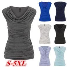 topsamptshirt, Pleated, slim, V-neck