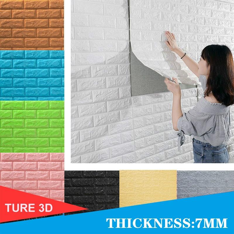 33ft Red Brick Sticker Waterproof Self-adhesive Wallpaper 3D Wall Paper Brick