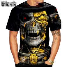 skullprinttshirt, Summer, Shorts, polyestertshirt