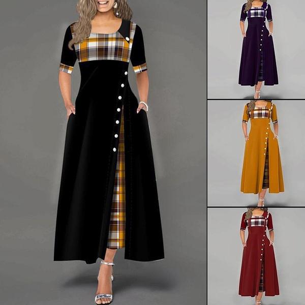 party, Fashion, Plaid Dress, Sleeve