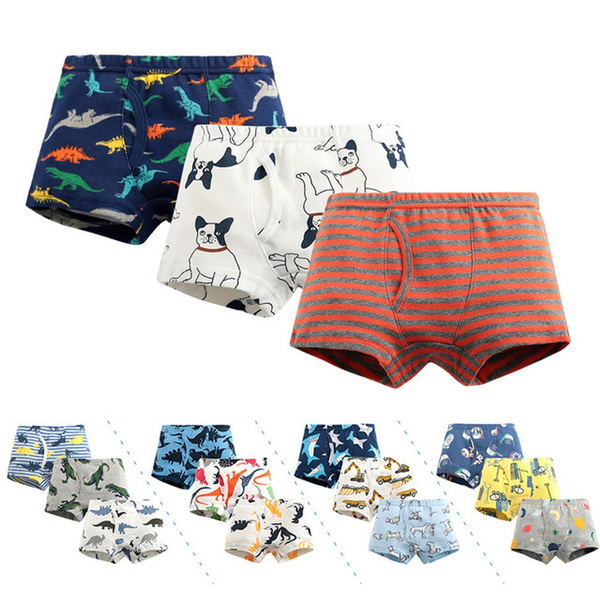 3pc Little Boys Cartoon Briefs Dinosaur Truck Toddler Kids Shorts Underwear Wish