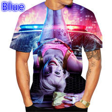clowntshirt, Summer, hallequinnprintedtshirt, Plus Size