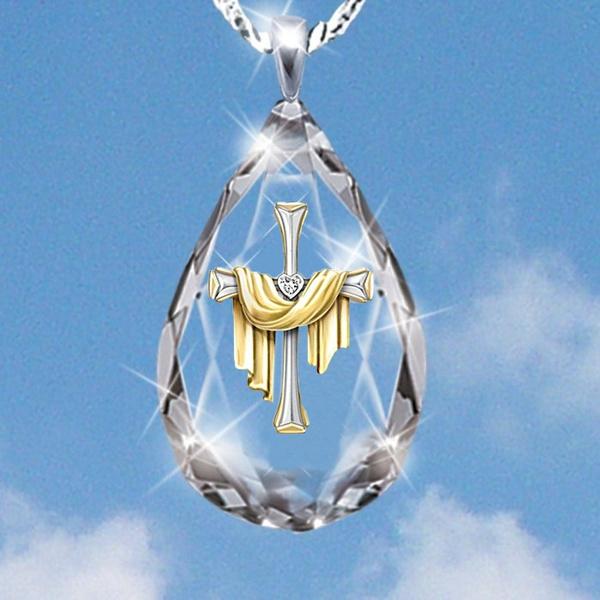 Fashion, Cross necklace, religiousjewelry, teardroppendant