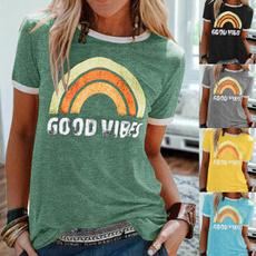 Summer, Plus Size, letter print, print shirt