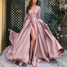 gowns, deepvdresslongsleeve, Lace, Long Sleeve
