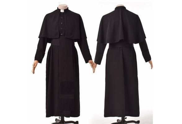 Roman Men Black Soutane Cassock Adult Medieval Clergy Robe Cassock Cape Belt