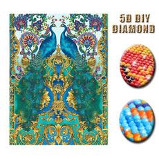 Decorative, peacock, diamondpaintingkitsforadult, Home Decor