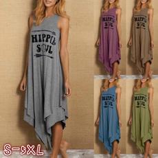 Summer, asymmetrical dress, hippie, long dress