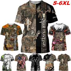 Summer, Plus Size, Shirt, Hunting