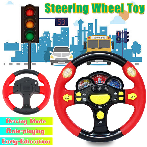 Steering Wheel Toy Baby Educational Driving Simulation Light Music Toddler Gift