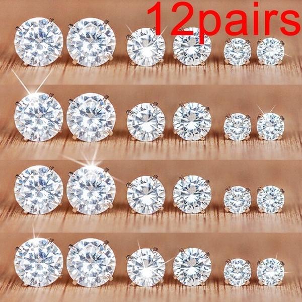 DIAMOND, Jewelry, Stud Earring, Simple