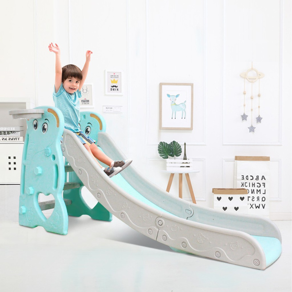 2020 New Toddler Slides And Climbers 3 In 1 Climber Slide Playset With Basketball Hoop Plastic Play Slide Climbing Ride For Kids Ages 2 And Up Kids Slide For Both Indoors Outdoor