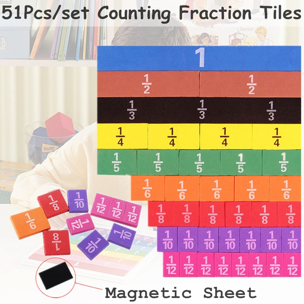 Magnetic Math Counting Fractions Tiles Calculate Early Learning Educational T BE