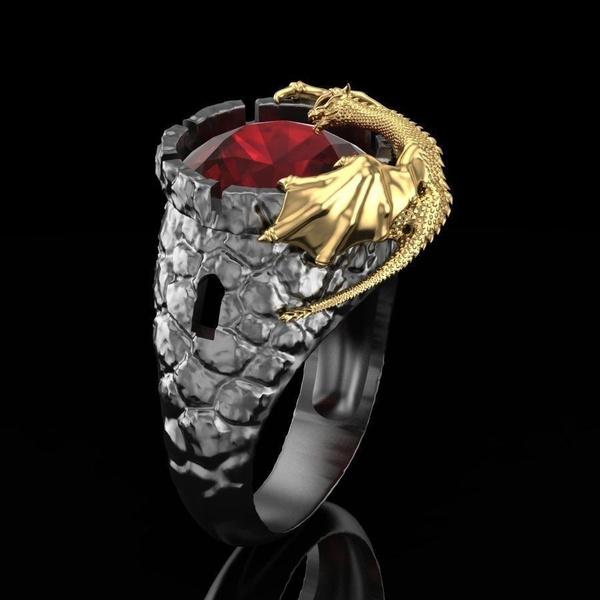 925 Argent Noir Spinelle Ruby Gemstone 18K Noir Plaqué Or Skull Ring SZ 6 7 89