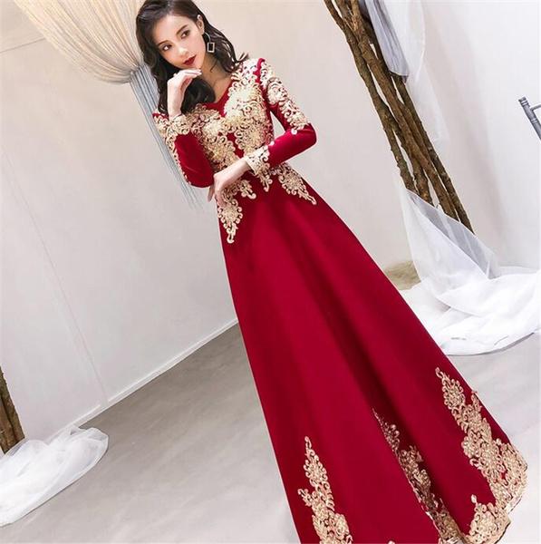 Long Sleeve Red Oriental Style Dresses Chinese Bride Vintage Traditional Wedding Cheongsam Dress Long Qipao Wish