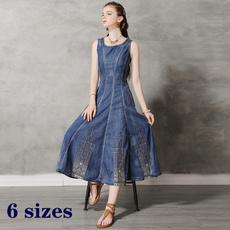 denim dress, Summer, long skirt, Plus Size
