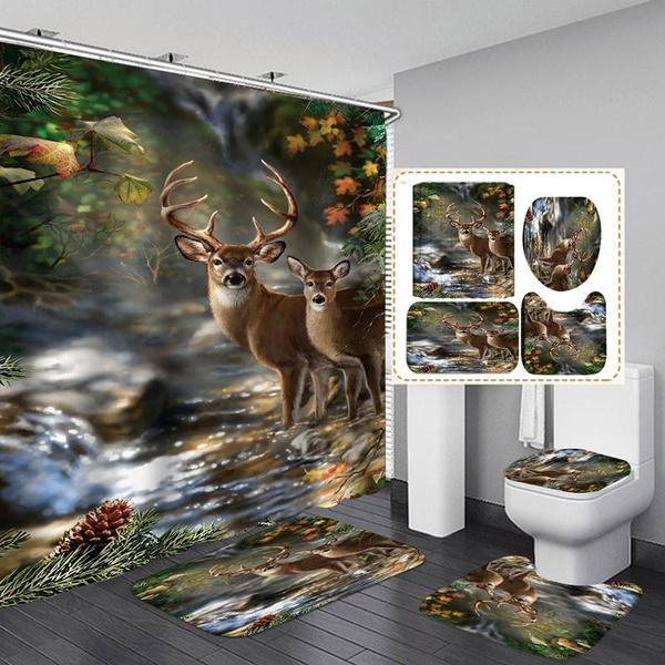 4 3 1pcs Forest Creek Deer Shower Curtain Set Bath Mat Toilet Cover Rug Bathroom Decor Set Wish
