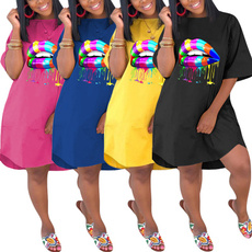 rainbow, Plus Size, Sleeve, Dress
