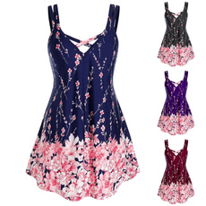 Tanktops for women, Plus Size, Floral print, Chiffon Shirt