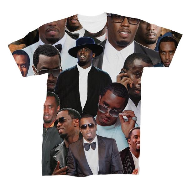 pdiddy, Cotton Shirt, Fashion Men, seancombsphotocollagetshirtpuffdaddy
