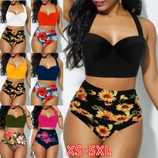 Summer, Plus Size, Floral print, high waist