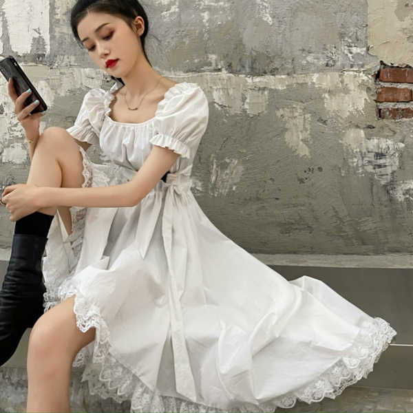 GOTHIC DRESS, short sleeve dress, Lace, asymmetric