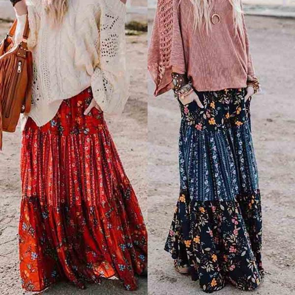 long skirt, elastic waist, Floral print, maxi skirt