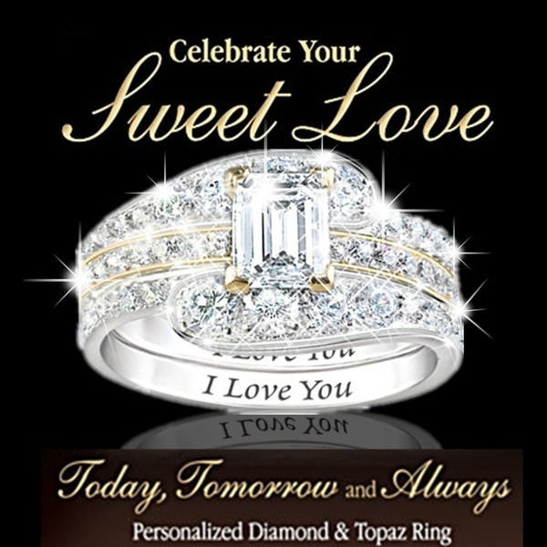 Sterling, Engagement Wedding Ring Set, 925 sterling silver, wedding ring